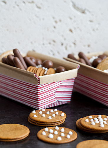 Holiday cookie baskets with gingersnap cookies and various chocolates