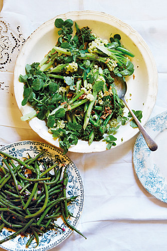 Green beans, broccolini, and cauliflower as side dishes