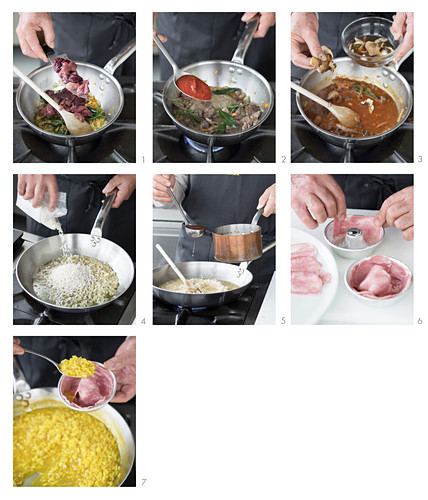 A risotto ring with a ragout made of tongue and innards being made