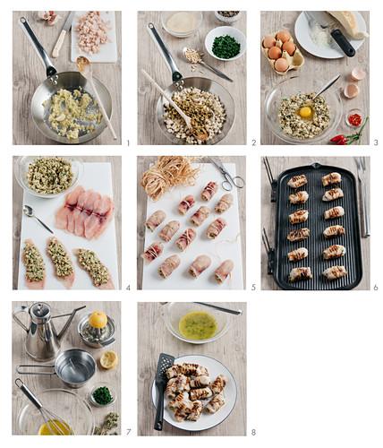 Braciole di pesce spada (grilled swordfish rolls, Italy) being made