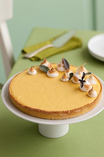 Lemon and sage tart