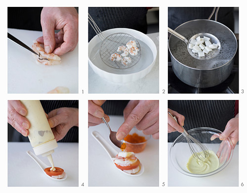 Japanese-style prawn and squid spoon canape with two sauces being made