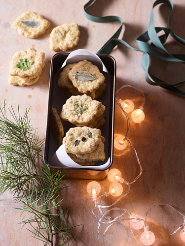 Savoury Christmas cookies with asiago, herbs and lemon
