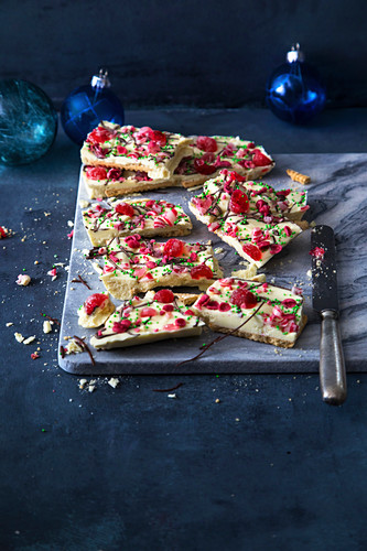Red and white chocolate slices