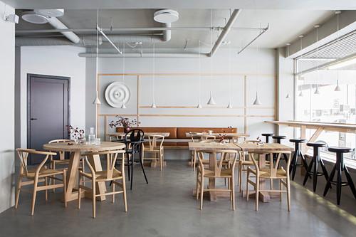 Scandinavian-style restaurant with minimalist furnishings