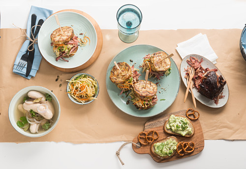 Bavarian supper with roast pork, dumpling burgers and white sausage