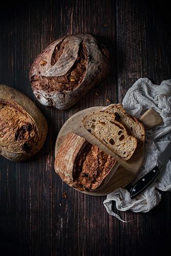 Fresh artisan bread on table
