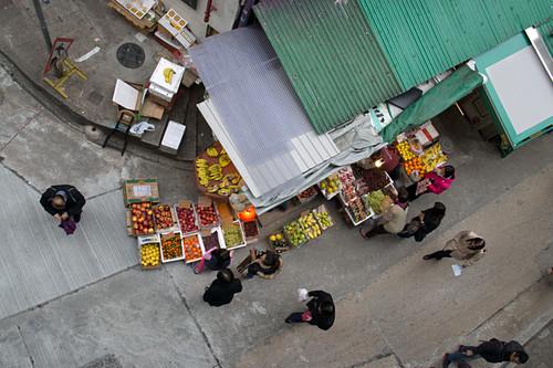 High Angle View of Corner Market and Street Scene, Hong Kong, China