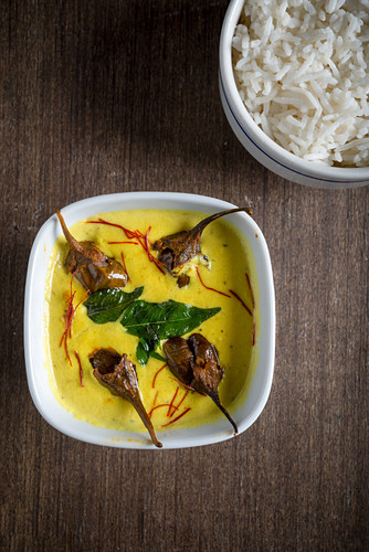 Stuffed Aubergine Curry with Rice (India)