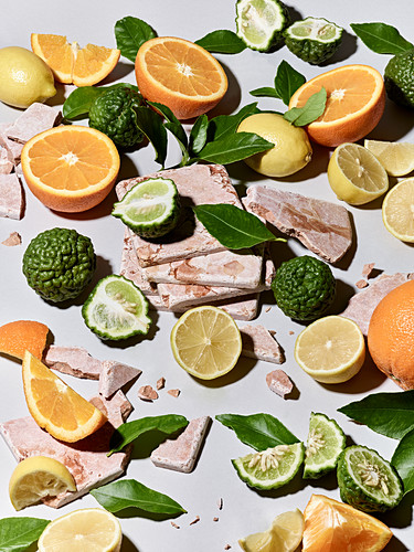 Citrus fruits - kaffir limes, oranges lemons