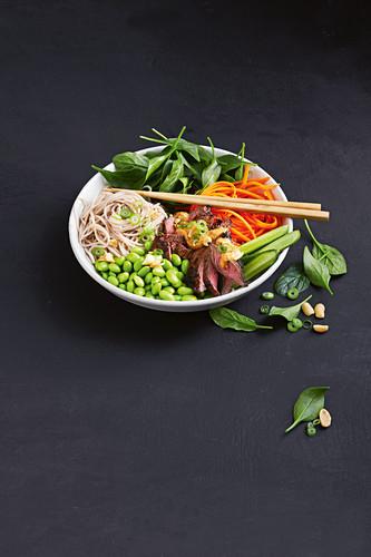 17-minute beef satay salad bowl