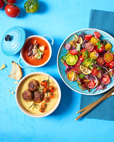 Colourful tomato salad, polenta with meatballs and tomatoes, and tomato soup