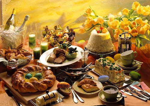 Easter buffet with sweet & savoury dishes, coffee, champagne