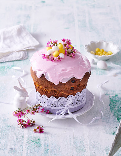 Easter paska cake with rose frosting
