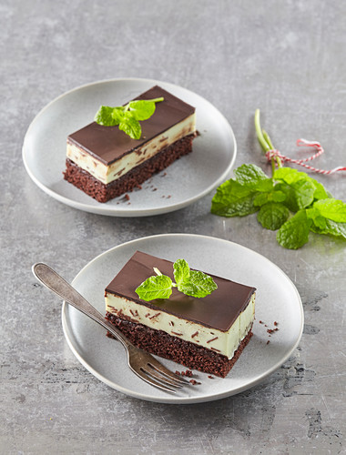 Chocolate and mint slices