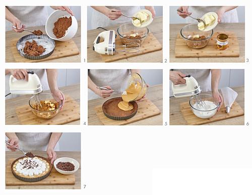 Tarte mit Karamellcreme, Bananen und Baiser zubereiten
