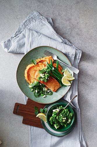 Salmon with sweet potato mash and minted gremolata