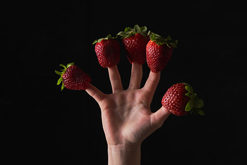 Unrecognizable kid playing with ripe strawberries on fingers against black background