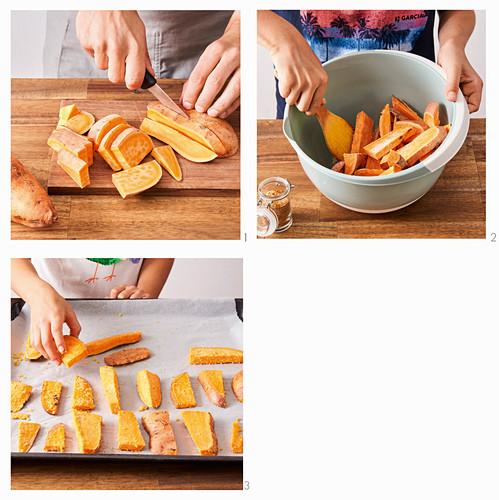 Preparing sweet potato wedges on a tray