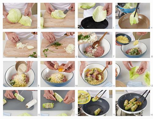 Preparing stuffed cabbage rolls