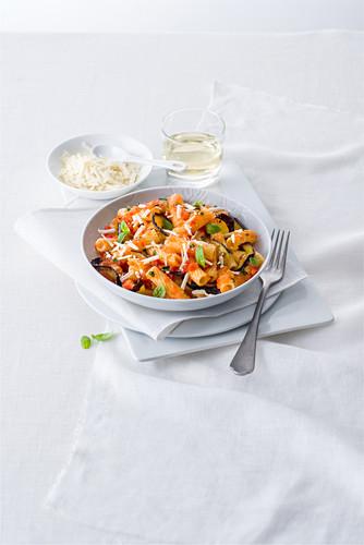 Pasta alla norma (pasta with tomato sauce, aubergine and ricotta, Italy)
