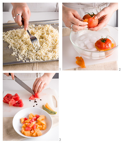 Rice with green pesto, tomatoes, watermelon and honeydew melon being made