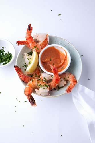 American shrimp cocktail with cocktail sauce