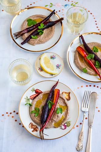 Roasted carrots with eggplants hummus