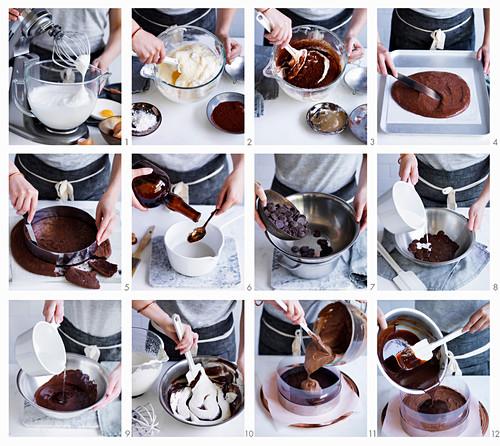 Preparing Chocolate Mousse Cake