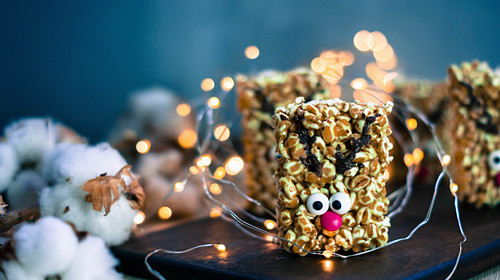 Rudolf the Red-Nosed Reindeer made from rice crispies and chocolate (Christmas)