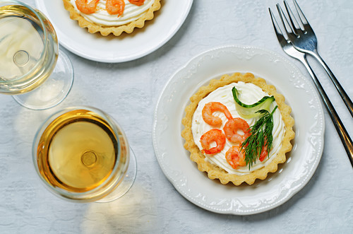 Shrimp cream cheese mousse dill cucumber tartlet