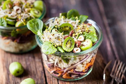Quinoa salad with lamb's lettuce, mini kiwis, red cabbage, carrots and hazelnuts