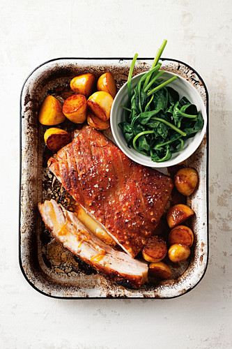 Orange and coriander pork belly with caramel potatoes