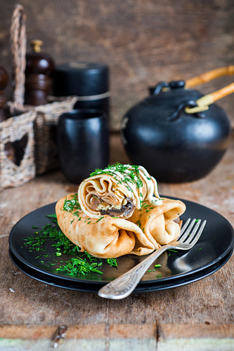 Chicken and mushroom stuffed crepes
