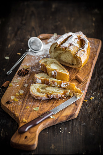 Viennese stollen sliced on a wooden board
