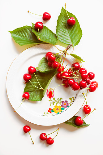 Cherries and cherry leaves on a white plate