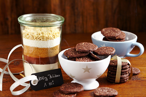Coconut chocolate cookies and baking mix in a glass