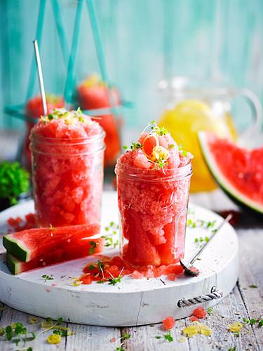 Watermelon and Lemon Tea Granita