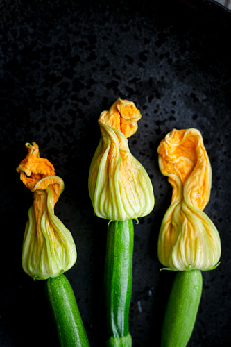 Three courgette flowers on a black plate