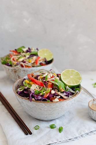 Two bowls of noodle salad with crunchy vegetables and spring onions