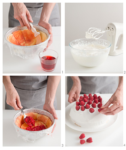 Raspberry zuccotto with creamy yoghurt being made