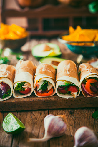 Tortilla wraps with vegetables, Mexican tortillas, Tacos with nachos and vegetables