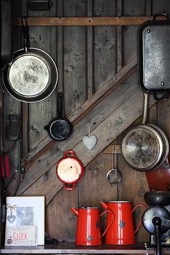 Kitchen utensils in mountain cabin