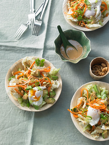 Gado-gado salad with poached egg and a peanut dressing