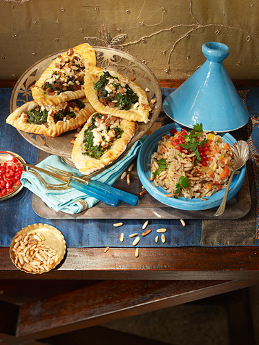 Pide with spinach, almonds and eggplant pilaf (Christmas)