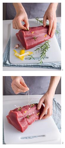 Tuna fillet being prepared