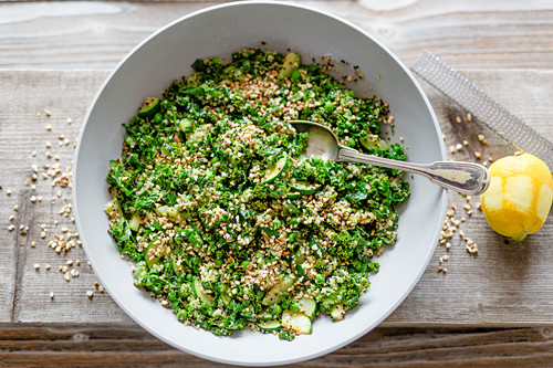 Vegan quinoa salad with kale and zucchini