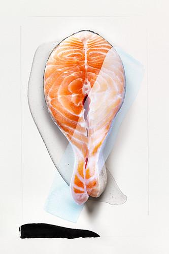 Food art: salmon steak (abstract)
