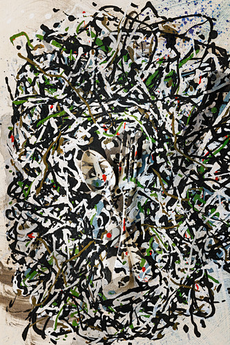 Food art: a spoon and a fork splattered with paint (inspired by Jackson Pollock)