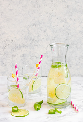 A refreshing summer drink with lime and chili peppers